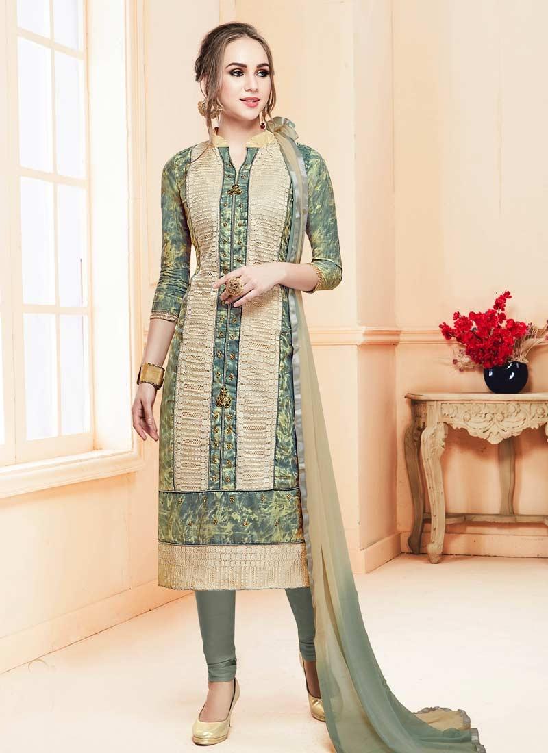 Beige and Grey Trendy Straight Salwar Kameez
