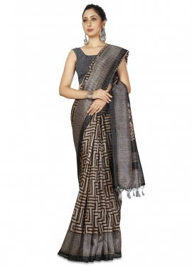 Beige and Grey Woven Work Designer Contemporary Style Saree