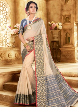 Beige and Grey Woven Work Traditional Designer Saree