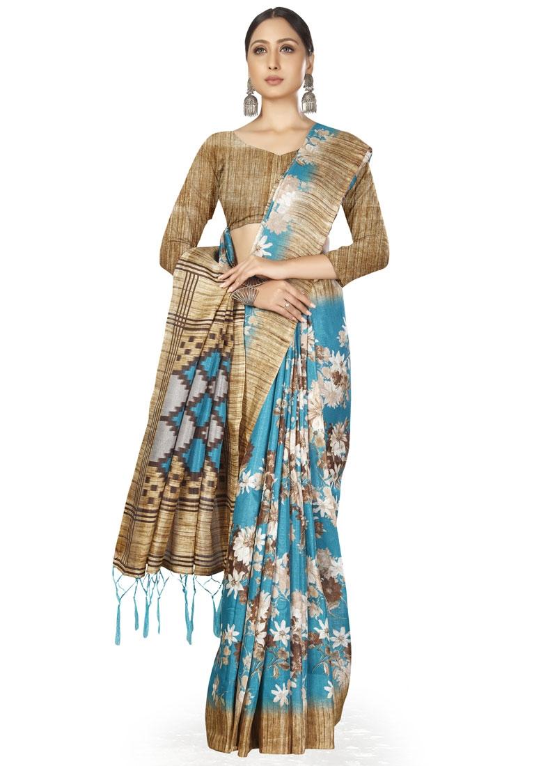Beige and Light Blue Designer Contemporary Saree
