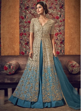 Beige and Light Blue Kameez Style Lehenga