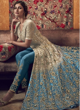 Beige and Light Blue Pant Style Designer Salwar Suit For Festival