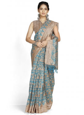 Beige and Light Blue Traditional Designer Saree