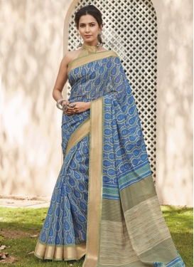 Beige and Light Blue Traditional Designer Saree For Casual