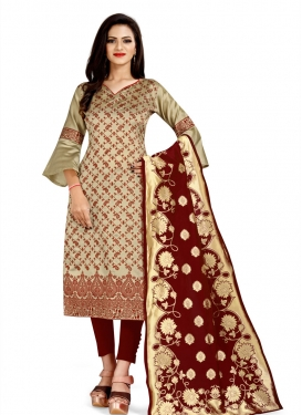 Beige and Maroon Art Silk Pant Style Classic Salwar Suit