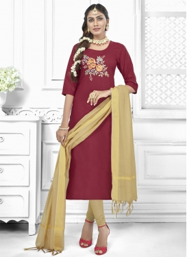 Beige and Maroon Churidar Salwar Suit For Casual