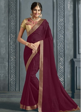 Beige and Maroon Designer Traditional Saree
