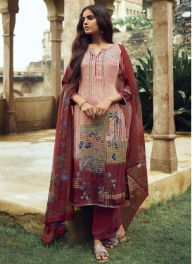 Beige and Maroon Digital Print Work Pant Style Pakistani Salwar Suit