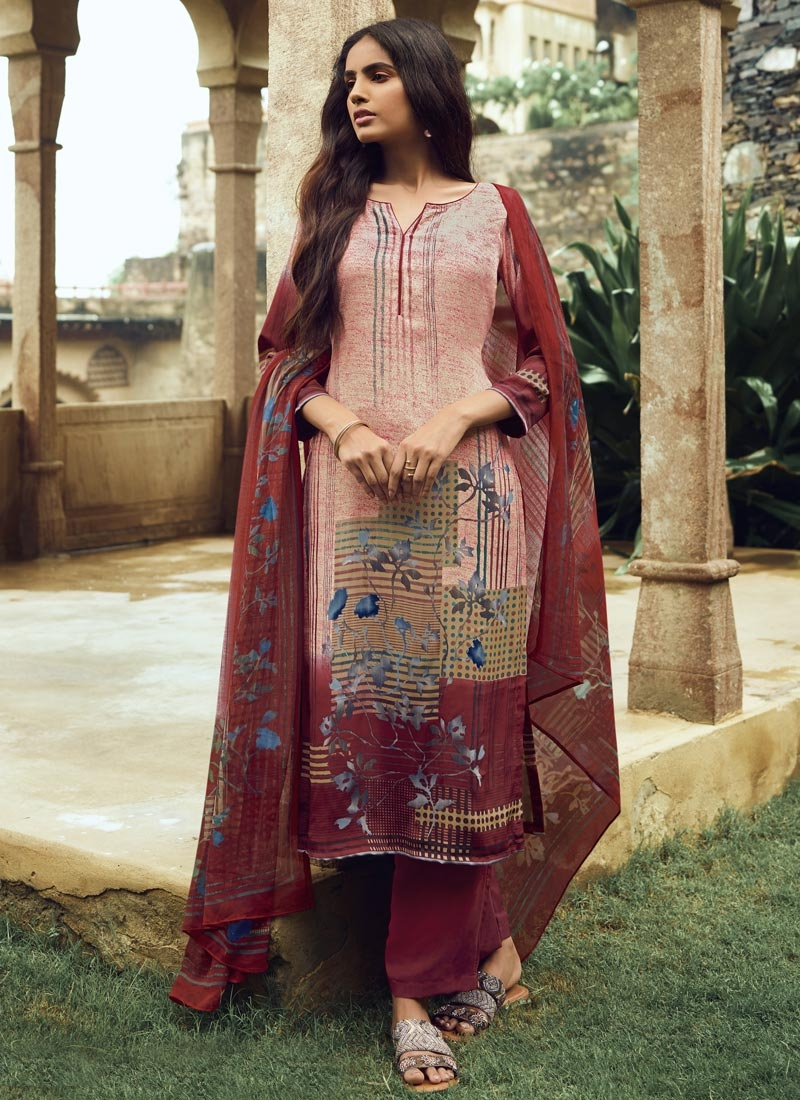 Beige and Maroon Digital Print Work Pant Style Pakistani Salwar Suit