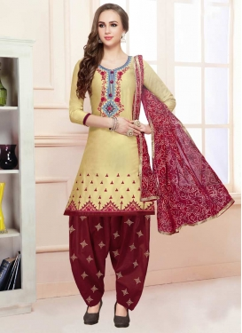 Beige and Maroon Embroidered Work Semi Patiala Salwar Kameez