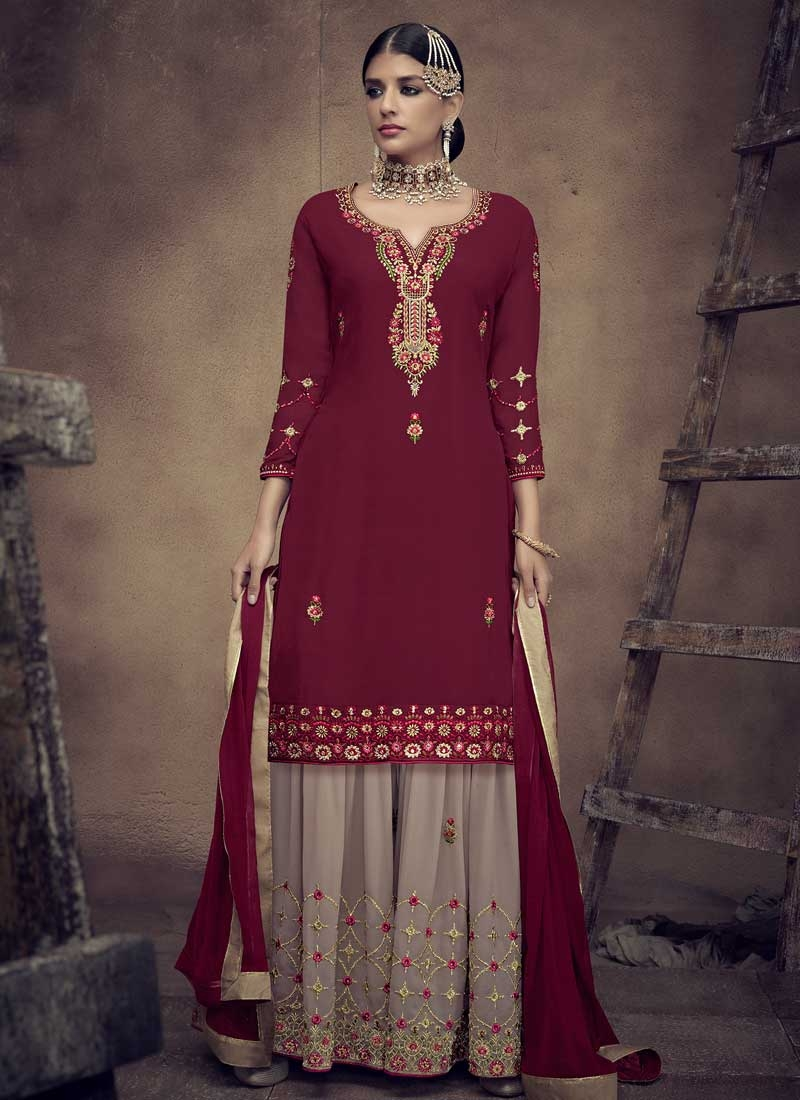 Beige and Maroon Embroidered Work Sharara Salwar Kameez