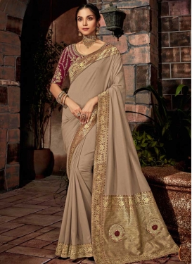 Beige and Maroon Embroidered Work Trendy Classic Saree