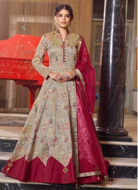Beige and Maroon Jacquard Woven Work Readymade Designer Gown