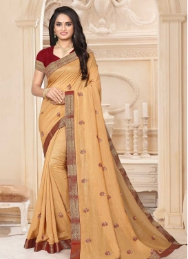Beige and Maroon Lace Work Traditional Designer Saree