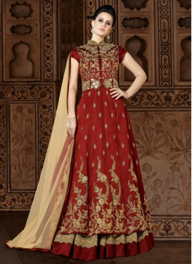 Beige and Maroon Net Kameez Style Lehenga For Party