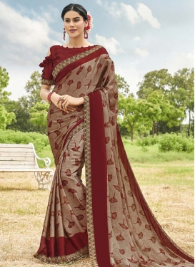 Beige and Maroon Rangoli Contemporary Style Saree For Casual