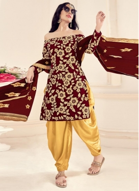 Beige and Maroon Semi Patiala Salwar Suit