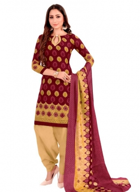 Beige and Maroon Semi Patiala Salwar Suit For Casual