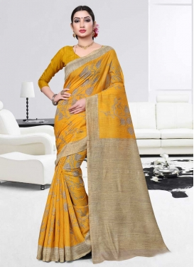 Beige and Mustard Art Silk Designer Traditional Saree