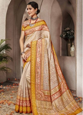 Beige and Mustard Digital Print Work Trendy Classic Saree