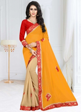 Beige and Mustard Lace Work Fancy Fabric Designer Half N Half Saree