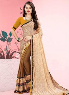 Beige and Mustard Lace Work Half N Half Designer Saree