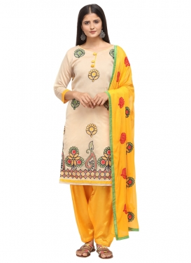 Beige and Mustard Trendy Salwar Kameez For Casual
