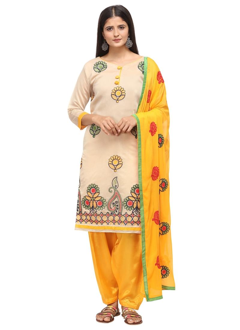 Beige and Mustard Trendy Salwar Kameez For Casual