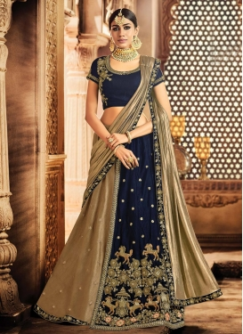 Beige and Navy Blue Art Dupion Silk Lehenga Style Saree