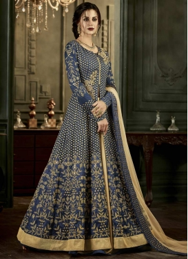 Beige and Navy Blue Art Silk Floor Length Designer Salwar Suit