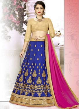Beige and Navy Blue Booti Work Trendy A Line Lehenga Choli