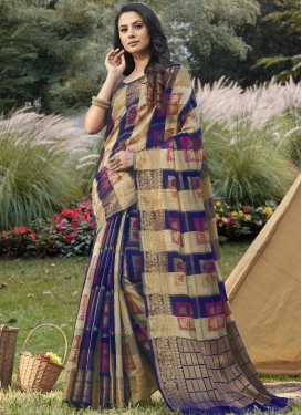 Beige and Navy Blue Contemporary Style Saree