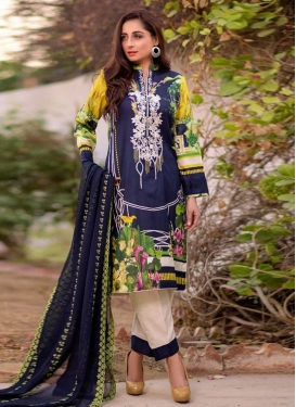Beige and Navy Blue Cotton Lawn Pant Style Designer Salwar Kameez