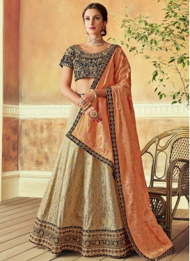 Beige and Navy Blue Designer A Line Lehenga Choli