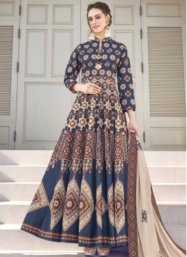 Beige and Navy Blue Digital Print Work Readymade Floor Length Gown