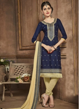 Beige and Navy Blue Embroidered Work Trendy Straight Salwar Kameez