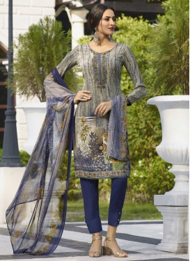 Beige and Navy Blue Pant Style Salwar Kameez