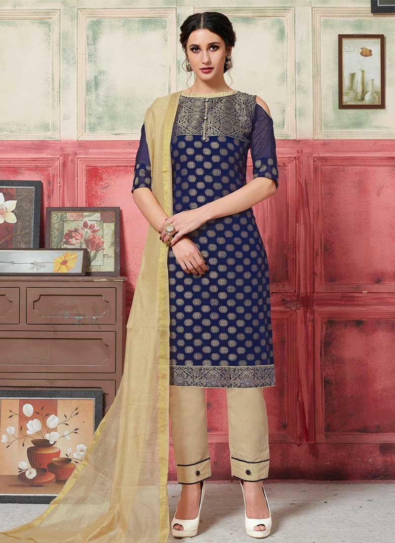 Beige and Navy Blue Pant Style Salwar Kameez For Casual