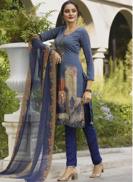 Beige and Navy Blue Pant Style Straight Salwar Kameez For Festival