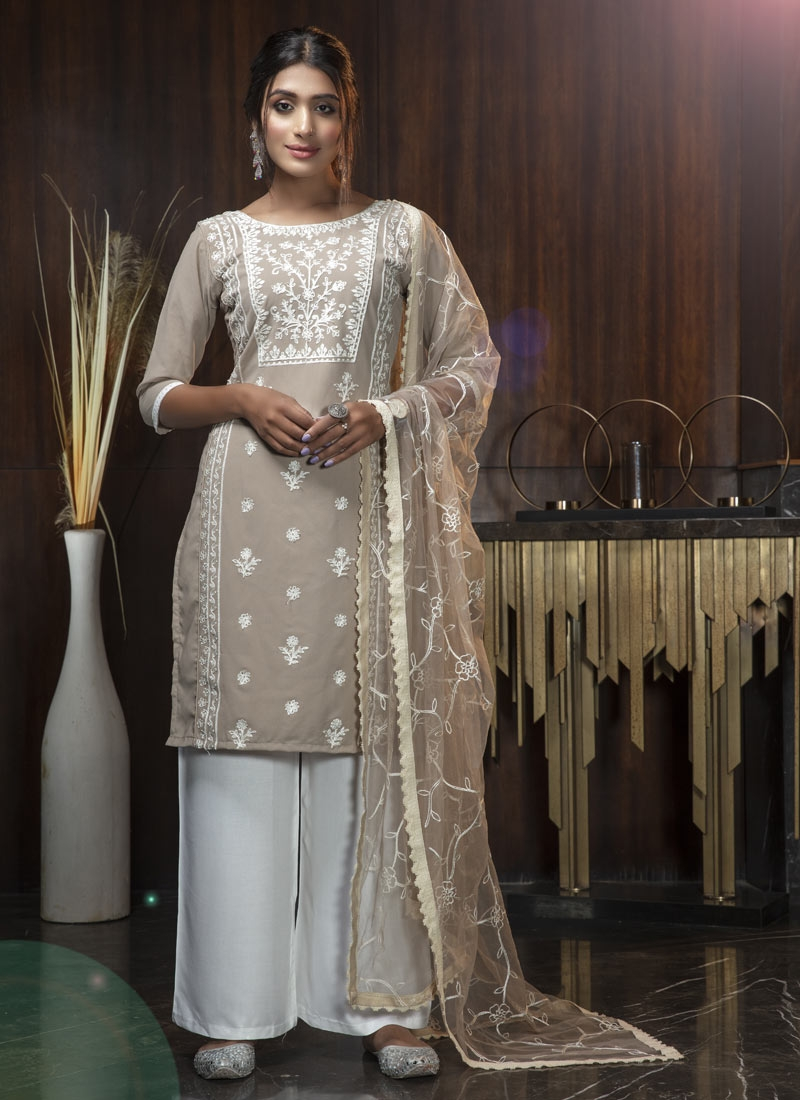 Beige and Off White Embroidered Work Palazzo Straight Salwar Suit