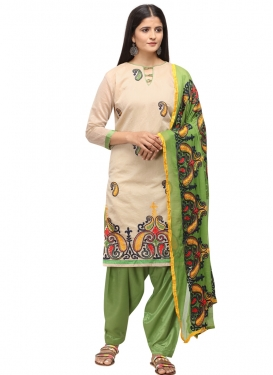 Beige and Olive Chanderi Cotton Trendy Salwar Kameez