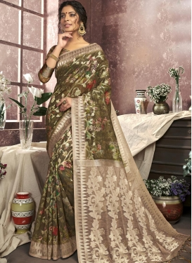 Beige and Olive Digital Print Work Cotton Silk Contemporary Style Saree