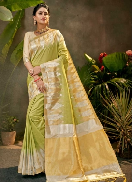 Beige and Olive Woven Work Designer Contemporary Saree