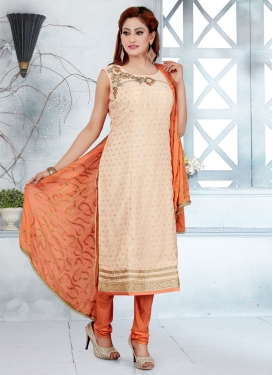Beige and Orange Banglori Silk Readymade Churidar Salwar Suit