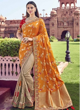 Beige and Orange Beads Work Designer Half N Half Saree