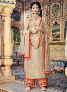 Beige and Orange Chanderi Silk Palazzo Style Pakistani Salwar Kameez