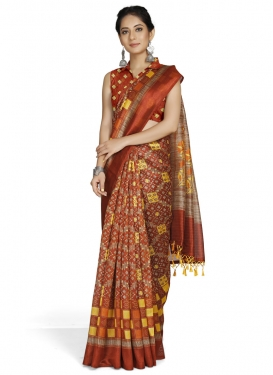 Beige and Orange Contemporary Style Saree