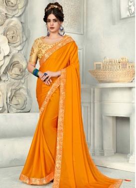 Beige and Orange Designer Contemporary Style Saree