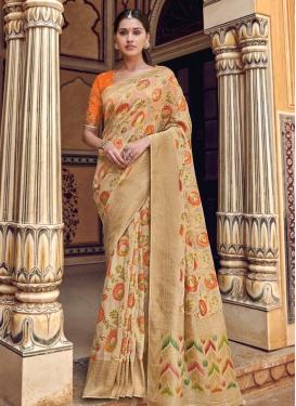 Beige and Orange Designer Traditional Saree