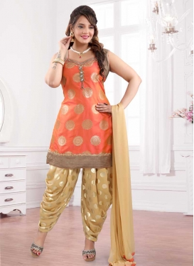 Beige and Orange Lace Work Readymade Salwar Suit